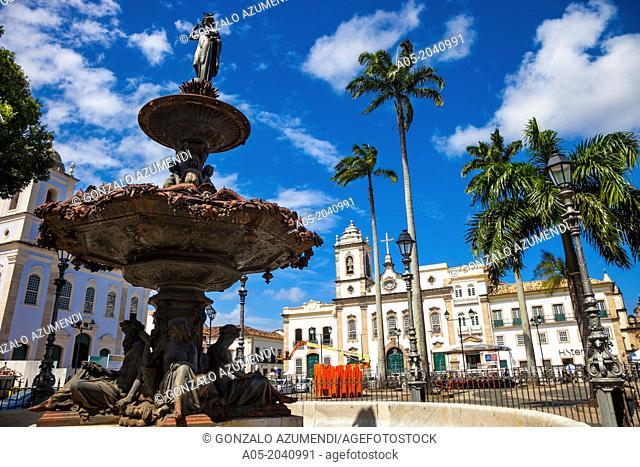 Terreiro de Jesus square and Sao Pedro dos Clerigos chuch, Pelourinho, Salvador, Bahia, Brazil
