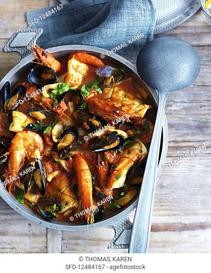 Seafood stew with king prawns and clams