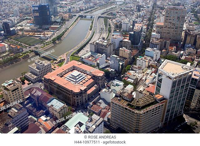 Aerial, architecture, Asian, Asia, outside, outside view, Chi, city, Financial, Ho, Ho Chi Minh, City, block of flats, high-rise building, Minh, moulder, Saigon