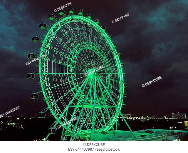 Orlando eye ferris wheel at night background. Photo image