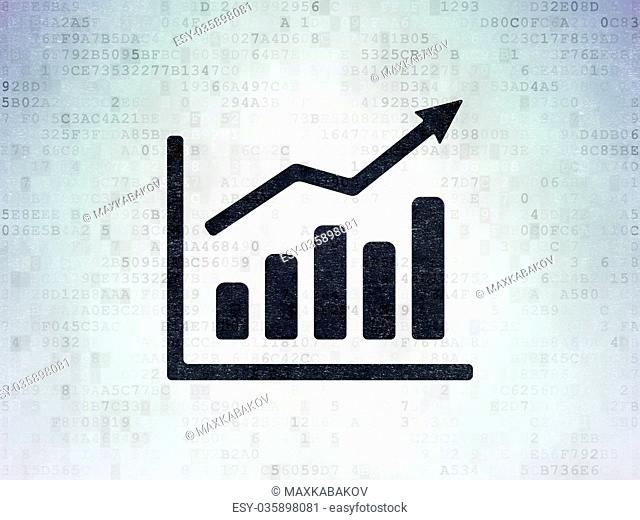 Advertising concept: Growth Graph on Digital Data Paper background