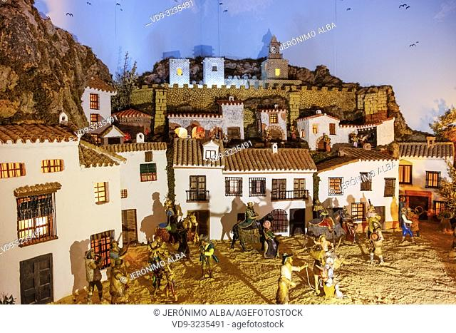 Bethlehem Christmas Nativity portal. Old town monumental city of Antequera, Malaga province. Andalusia, Southern Spain. Europe