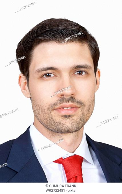 portrait handsome business executive in suit isolated on white