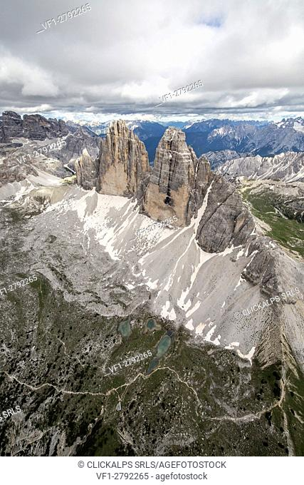Aerial view of the Three Peaks of Lavaredo. Dolomites. Cadore. Veneto. Italy. Europe
