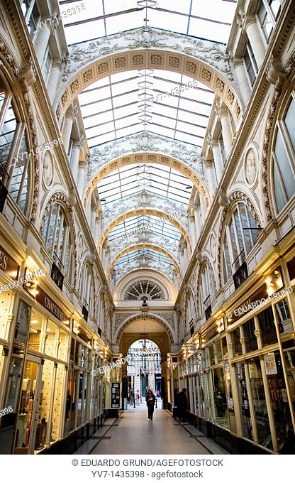 Interior of a commercial gallery which ancient walked Jules Verne  Nantes, Loire, France, Europe