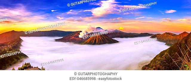 Mount Bromo volcano (Gunung Bromo) during sunrise from viewpoint on Mount Penanjakan in Bromo Tengger Semeru National Park, East Java, Indonesia