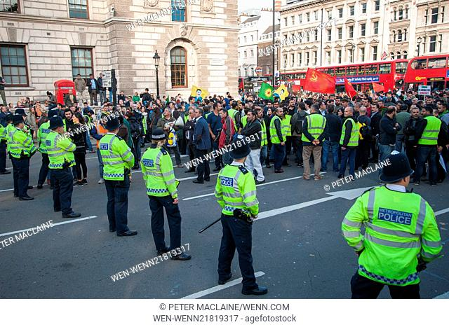 Police clash with Kurdish protesters outside the Houses of Parliament in Parliament Square, London, leading to arrests Featuring: View,Kurdish protesters