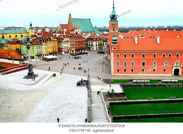 Royal Castle - former official residence of Polish monarchs, Castle square, in background St John's Archcathedral, Old Town of Warsaw, UNESCO World Heritage