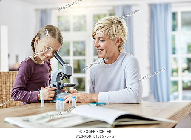 Mother and daughter using microscope at home