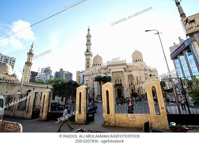 Alexandria, Egypt – November 6, 2018: photo for Mosque of Abu Morsi Abbas In Alexandria city in Egypt, and showing 4 dooms and two minarets