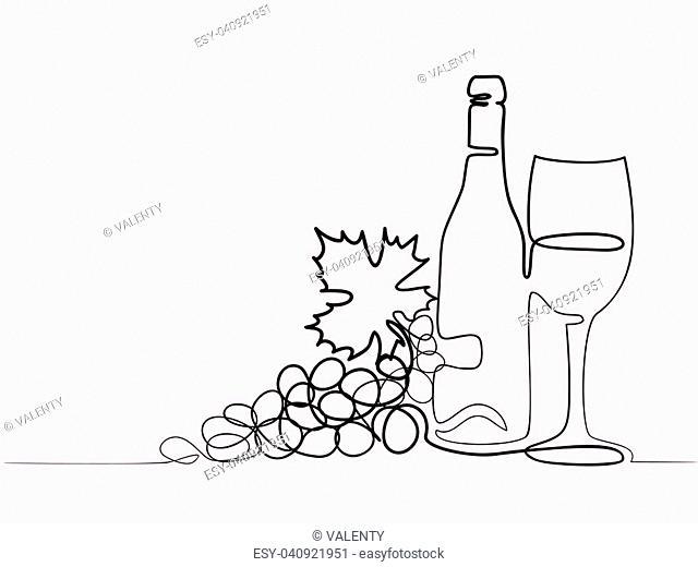 Continuous line color drawing. Wine bottle, glass and grape contour. Black outline vector illustration