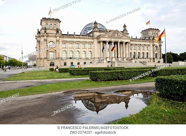 The Reichstag building in summer time of 2014. Berlin, Berlin-Brandenburg. Germany