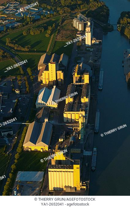 France, Moselle (57), Metz, new Metz port on Moselle river, cereals storage (aerial view)
