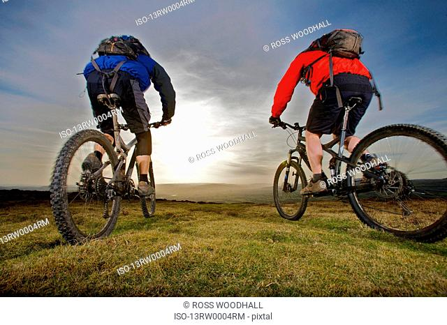 Two mountain bikers riding together