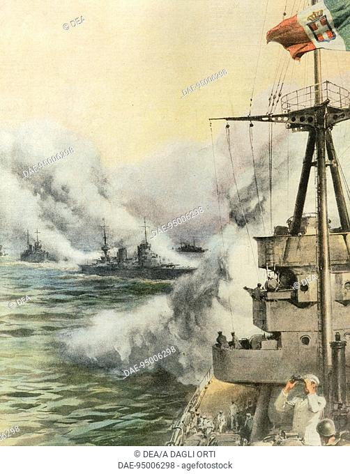 Sighted by enemy aircraft, an Italian convoy releases a smokescreen to protect the ships. By Achille Beltrame (1871-1945)