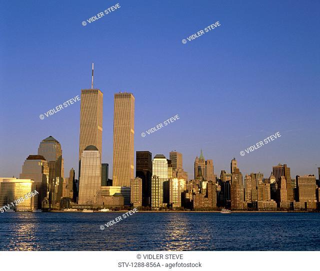 America, Center, City, Dawn, District, Financial, Holiday, Landmark, Metropolis, New york, New york city, River, Skyline, Skyscr