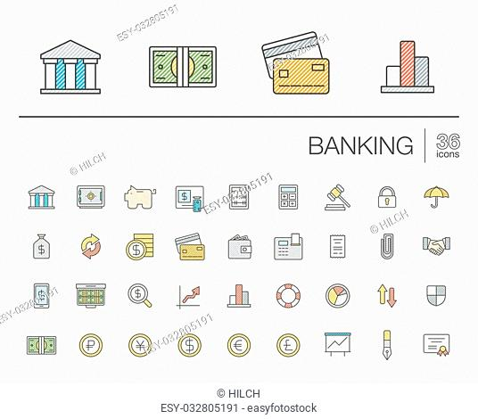Vector thin line icons set and graphic design elements. Illustration with banking and finance outline symbols. Bank, card, wallet, coin, safe, money bag, cash