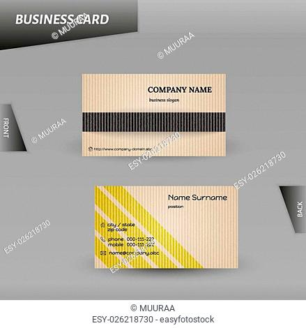 vector template of the cardboard business card, modern design
