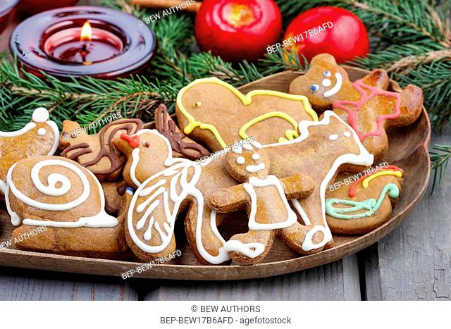 Gingerbread cookies on christmas eve table. Closeup