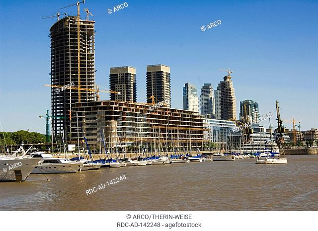 Boats at harbour Puerto Madero Buenos Aires Argentina