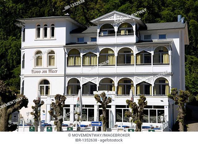 Resort architecture on Wilhelmstrasse, Haus am Meer, Baltic Sea resort town of Sellin, Isle of Ruegen, Mecklenburg-Western Pomerania, Germany, Europe