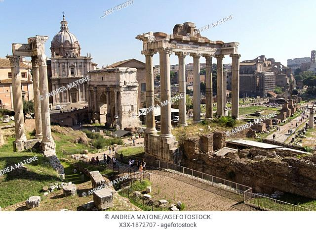 The view over the Roman Forum in Rome Italy
