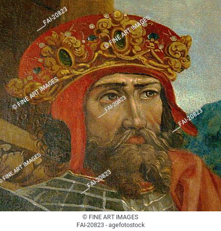 King Wladyslaw II. Jagiello (Detail). Anonymous . Oil on canvas. Medieval art. ca 1530. Diocese of Sandomierz. Portrait. Painting