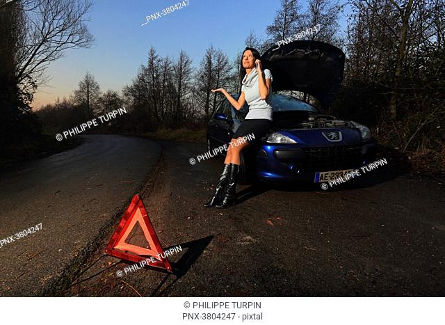 Woman and car. Problem