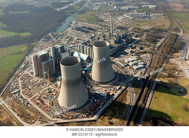 Aerial view, Westfalen Power Station, RWE Power, Hamm-Uentrop, Ruhr area, North Rhine-Westphalia, Germany, Europe