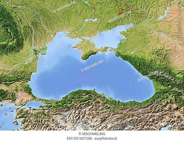 Black Sea with immediately surrounding countries. Shaded relief map with major urban areas. Colored according to vegetation