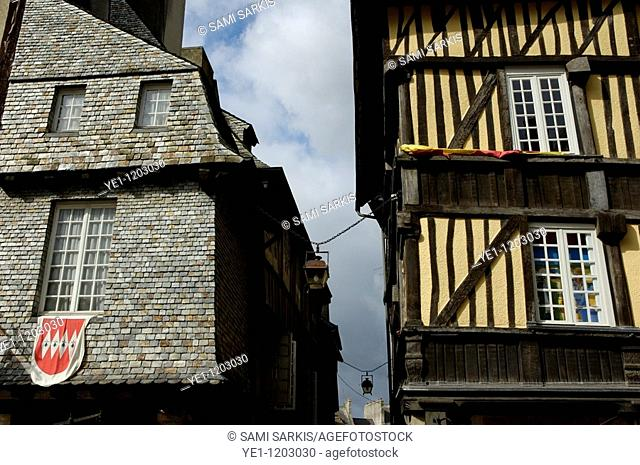Typical medieval houses in the old town of Dinan, Brittany, France