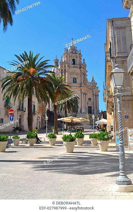 Church of San Giorgio and Piazza Duomo in Ragusa Ibla, Sicily, Italy