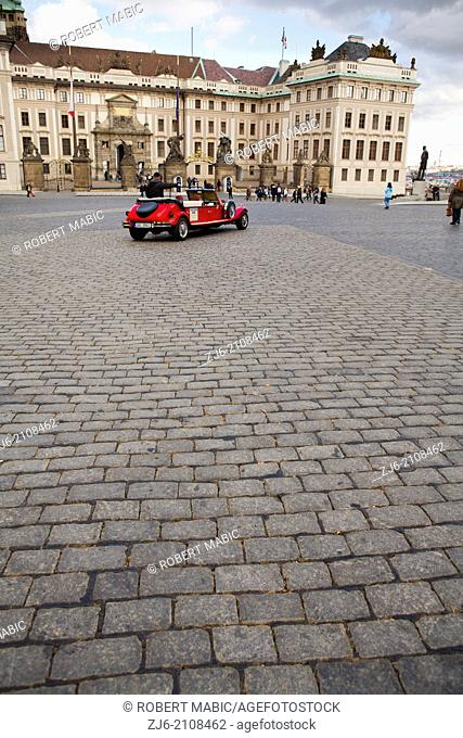 Vintage car at the castle entrance in Prague