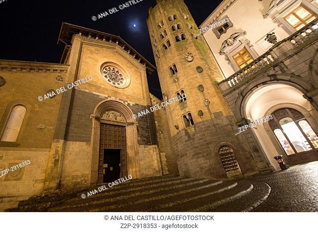 St Andrea church at Piazza della Repubblica at dusk, on February 6, 2017 in Orvieto, Umbria Italy