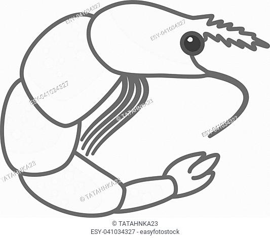 Flat vector monochrome shrimp symbol. Isolated outline prawn icon for seafood asian and menu design, banner, advertisement, packaging, cover, logotype