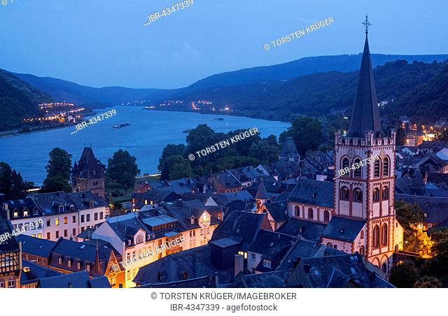Historic centre with church St. Peter at dusk, Bacharach, Rhineland-Palatinate, Germany