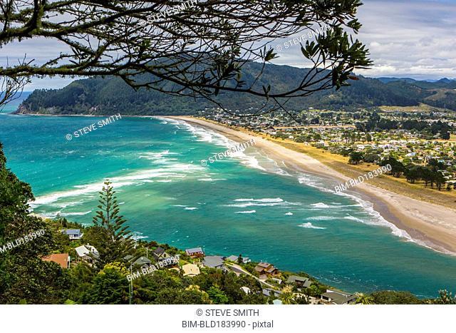High angle view of beach and Whittianga cityscape, Coromandel, New Zealand