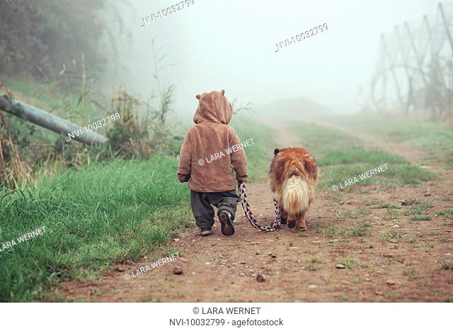 Toddler is walking with dog in the fog