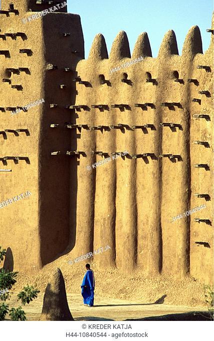 Mali, Djenne, Great Mosque, mud brick, adobe building, architecture, man, Africa, UNESCO, World heritage site, travel