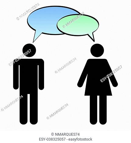 Image of a man and woman with colorful chat bubbles isolated on a white background
