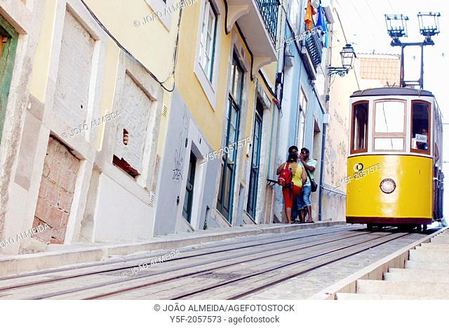 The yellow tram at the Bica neighborhood of Lisbon