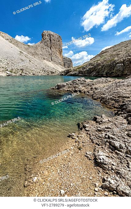 Italy, Trentino Alto Adige, Dolomites. Antermoia lake in the Catinaccio group