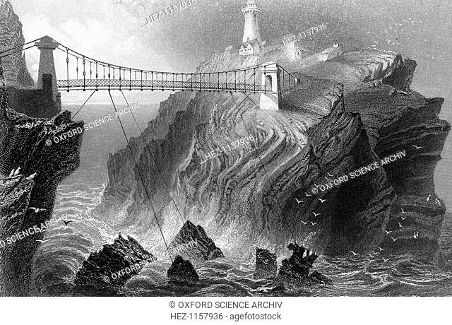 Suspension bridge to the South Stack lighthouse near Holyhead, Wales, c1860. Designed by David Alexander, the 91 foot lighthouse was completed in 1809