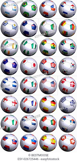 Thirty-two soccer balls of the competing nations in the Soccer World cup in South Africa 2010. Separated by continents and in alphabetical order