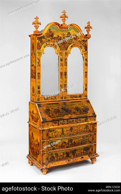 Desk (Secretary). Date: ca. 1730-35; Culture: Italian, Venice; Medium: Pine; carved, painted, gilded, and varnished linden wood decorated with colored decoupage...