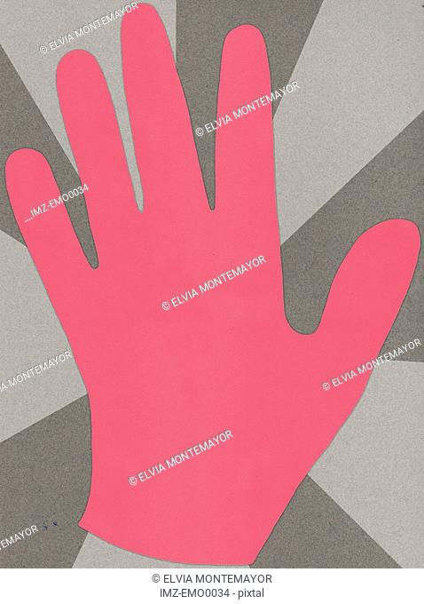 A pink hand against a grey background