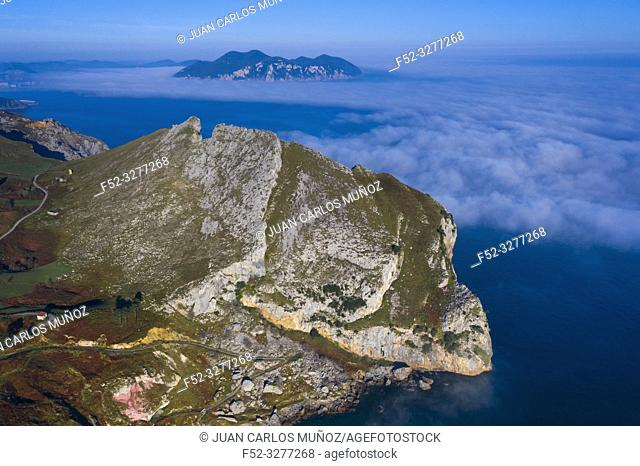 Aerial view, Liendo, Cantabrian Sea, Liendo Valley, Cantabria, Spain, Europe