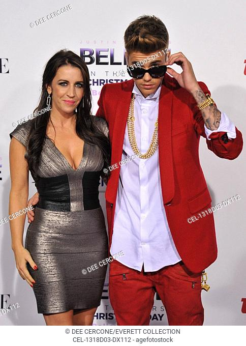 Justin Bieber, mother Pattie Mallette (wearing a Herve Leger dress) at arrivals for Justin Bieber's BELIEVE Premiere, PREMIERE HOUSE at Regal Cinemas L