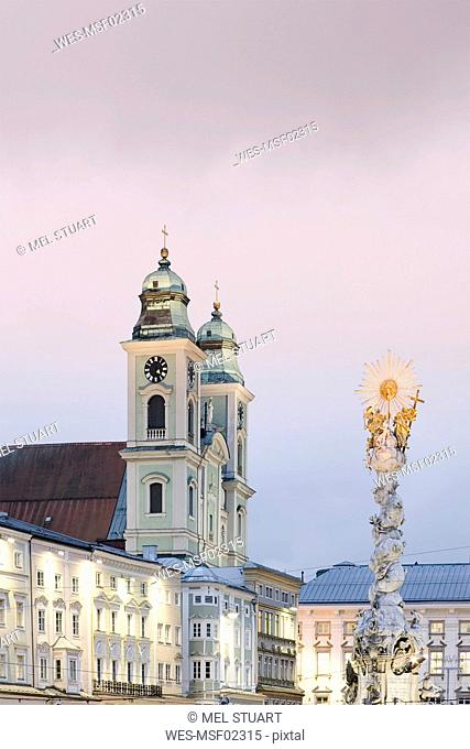 Austria, Linz, Old Cathedral with Trinity Column