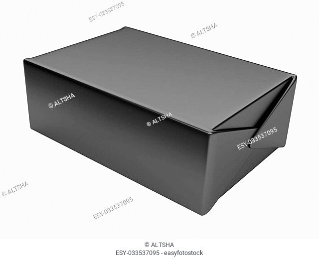 Black box. 3D illustration isolated on a white background